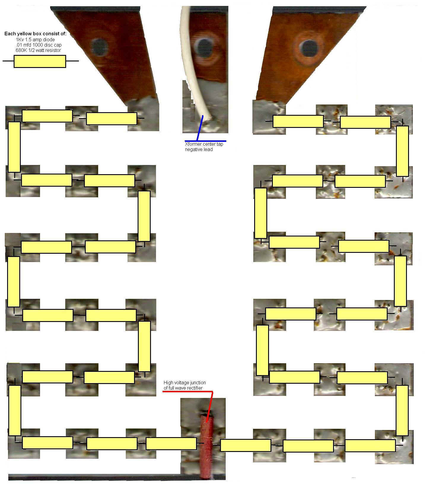 Building The 4 1000a Amplifier Diode Wiring Diagram Get Free Image About String Board Shown Here As A Block Each Yellow Rectangle Represents Set Of 1 Balancing Resistor And Capacitor