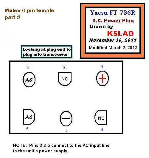 Yaesu_power_plug6 ft 736r dc power cable molex to 6 pin wiring diagram at eliteediting.co
